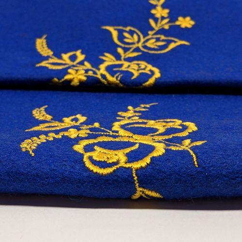 Tastenschoner - Tastenläufer blau bestickt