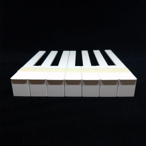 Piano key tops - with fronts - white - 52mm