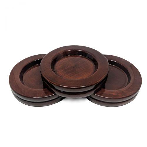 Grand piano caster cups - set - mahogany - Ø110mm
