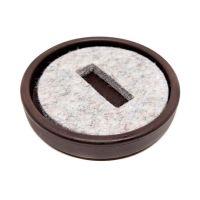Plastic castor cup - brown - inner felt - Ø70mm