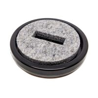 Plastic castor cup - black - inner felt - Ø70mm
